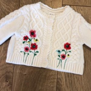 Baby Gap Girls cotton sweater embroidered flowers